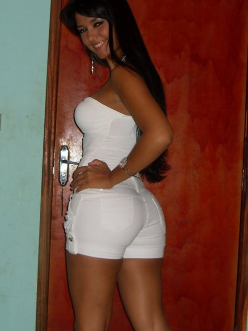 Hot Latina Marcela in tight white shorts
