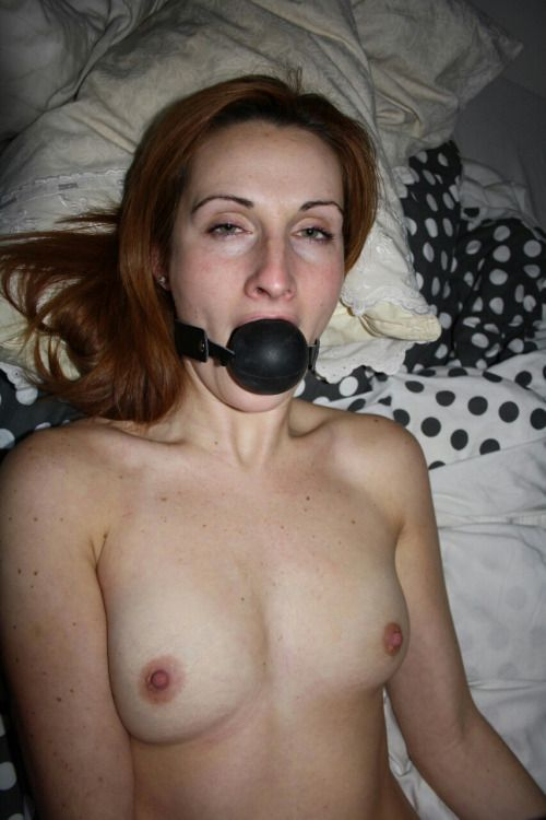 I've put my gag ball so nobody can hear me scream and moan